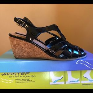 Shoes - Patent Leather Wedge Sandals